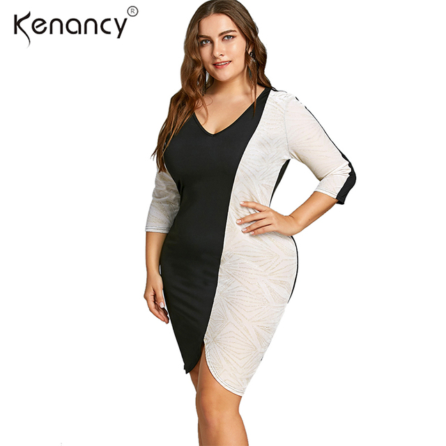 Kenancy 5XL Plus Size Color Block Two Tone V-Neck Summer Dress Women Office  O-neck Knee-Length 3 4 Sleeves Bodycon Vestidos Slim ae90685372cf