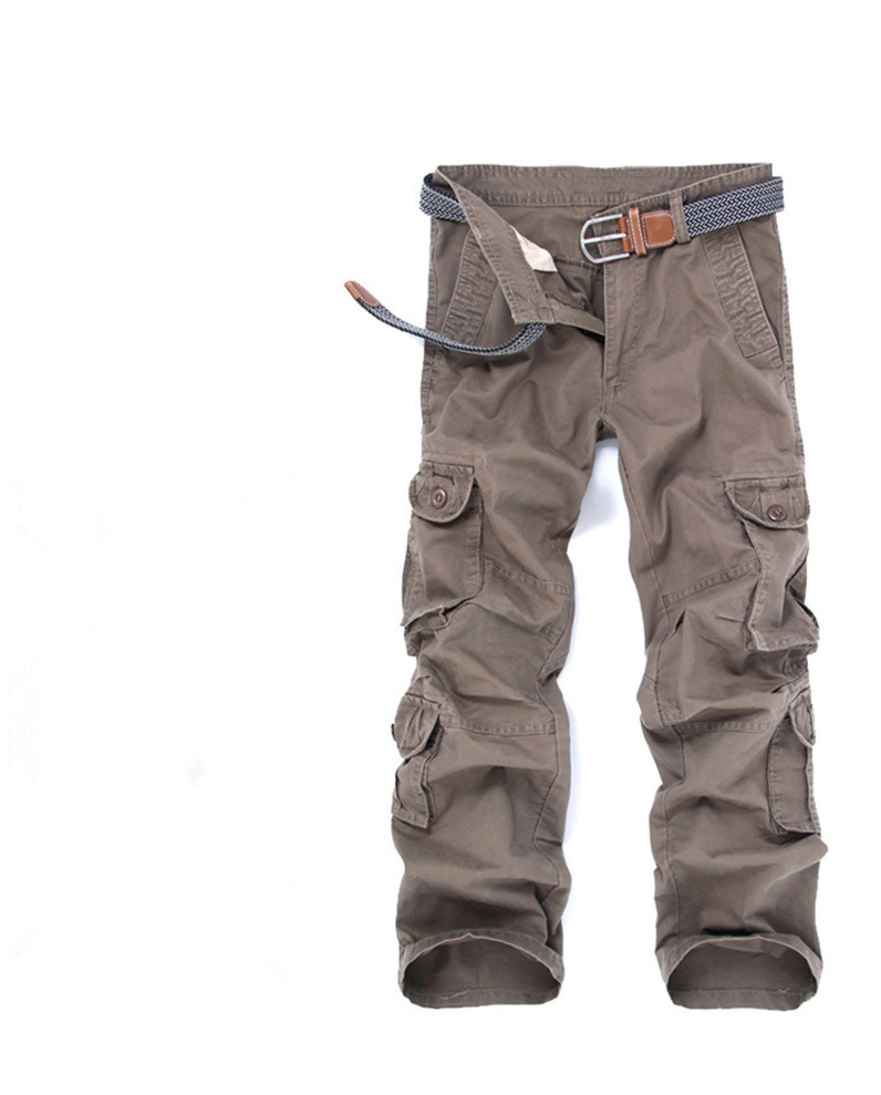 ФОТО New Tide Washed Cargo Textured Outdoors Overalls Multi-Pocket Trousers Loose Cotton Army Commando Style Men's Casual Trousers