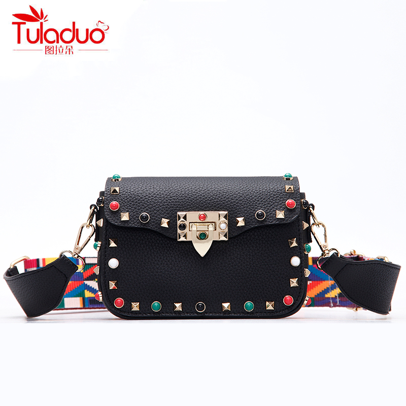 High Quality PU Leather Women Crossbody Bags Fashion Color Rivet Design Women Shoulder Bags Color Shoulder Strap Ladies Bag 2017 square pan rolled fried ice cream making machine snack machinery