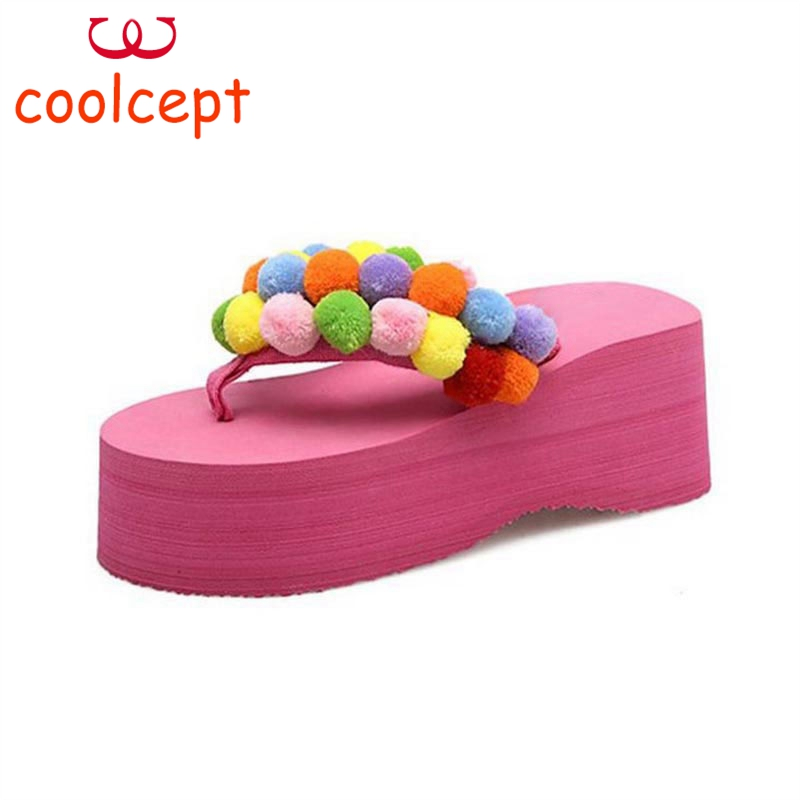Coolcept Summer Flip Flops Shoes Women Sweety Pompon Soft Slippers Women Thick Platform Wedges Trifle Footwear Size 35-39