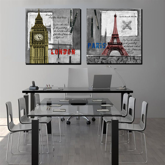 2 Pieces Set London And Paris Drawing Picture Home Decor Wall Painting  Canvas Prints Classic Wall Art For Living Room Decoration