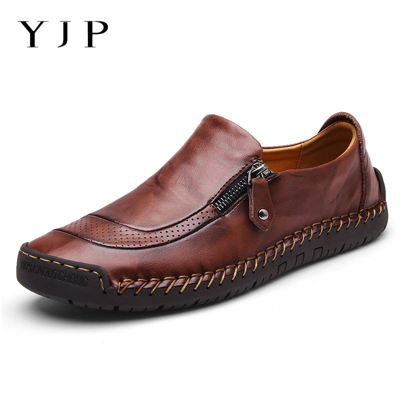 YJP Hand Stitching Cow Split Leather Shoes Men Slip-on Loafers Breathable Flat Heel Soft Sole Moccasins Men Shoes Plus Size New nis breathable mesh flat men shoes casual summer slip on shoes men patchwork stitching loafers sewing soft sole pu leather flats
