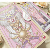 Cardcaptor Sakura pink red color 52 Piece Clow Cards+Book SET+The Nothing Card Tarot Cards Accessories props New