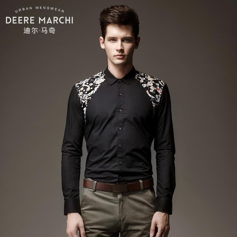 fashion male free shipping 2016 autumn new men's casual long sleeved black slim shirt shoulder M06672 printing shirt on sale