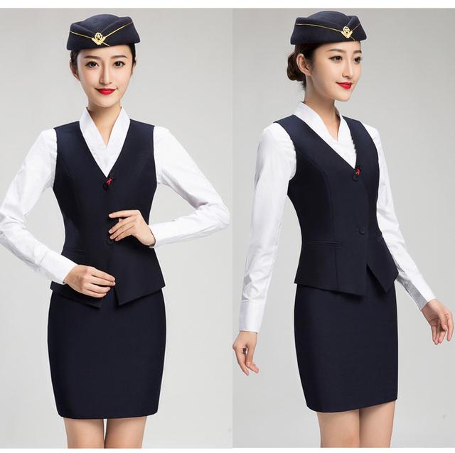 Uniformes Aeromoça ou Recepção Do Hotel Roupas Colete com Saia Terno Combinado com Camisa Branca