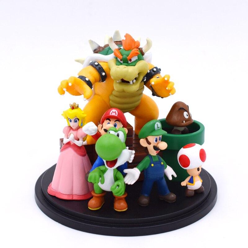 Super Mario Bros Bowser Princess Peach Yoshi Luigi Toad Goomba PVC Action Figure Toy Model Hot Toys For Children Free Shipping