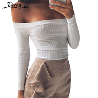 Sexy Slash Neck Long Sleeve Knit Crop Top Women Off The Shoulder Sheath Stretch Slim Shirts
