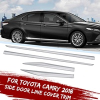 4Pcs Stainless Steel Side Door Line Cover Trim Chrome Door Guard Protect Body Side Molding Line Cover Trim For Toyota Camry 2018