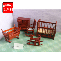 1:12 Dollhouse Baby Bedding Room furniture set Doll House Miniature Accessories with cradle Children Birthday Gift