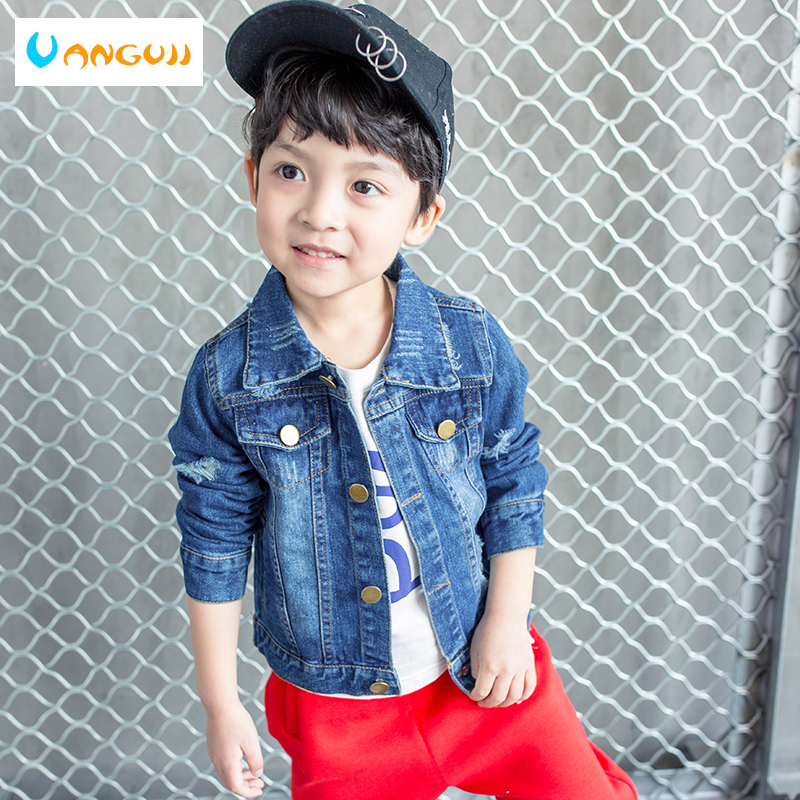 boys autumn coat denim jacket for kids 1-9 years old Solid color basic denim coat Washed stone hole short coat all match tops