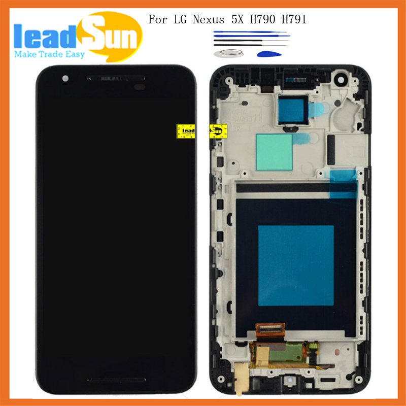 High quality For LG Google Nexus 5X H790 H791 LCD Display With Touch Screen Digitizer with frame Assembly+tools Free shipping new lcd touch screen digitizer with frame assembly for lg google nexus 5 d820 d821 free shipping