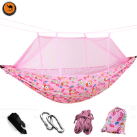 High Strength Parent Child Hammock Garden Outdoor Furniture Thick Canvas Hammock With Mosquito Net Protect Kid