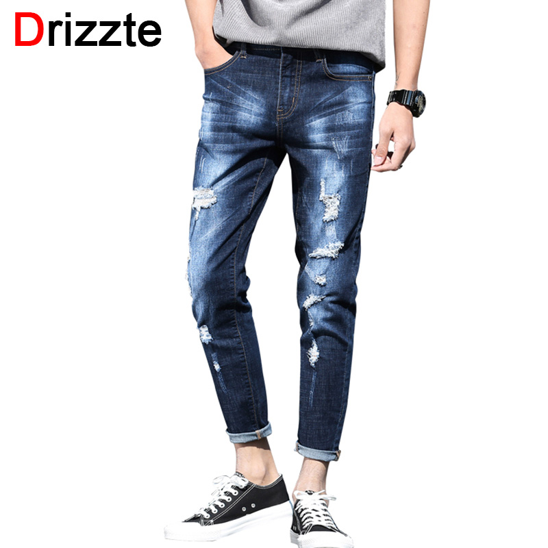 Drizzte Ankle Jeans Men Ripped Distress Stretch Denim Slim Fit Jeans for Men Soft Comfort Jeans