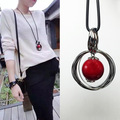 2015 New Arrival Women Pendant Necklaces Autumn And Winter Sweet All-match Long Necklace Beads Circle Red Sweater Chain