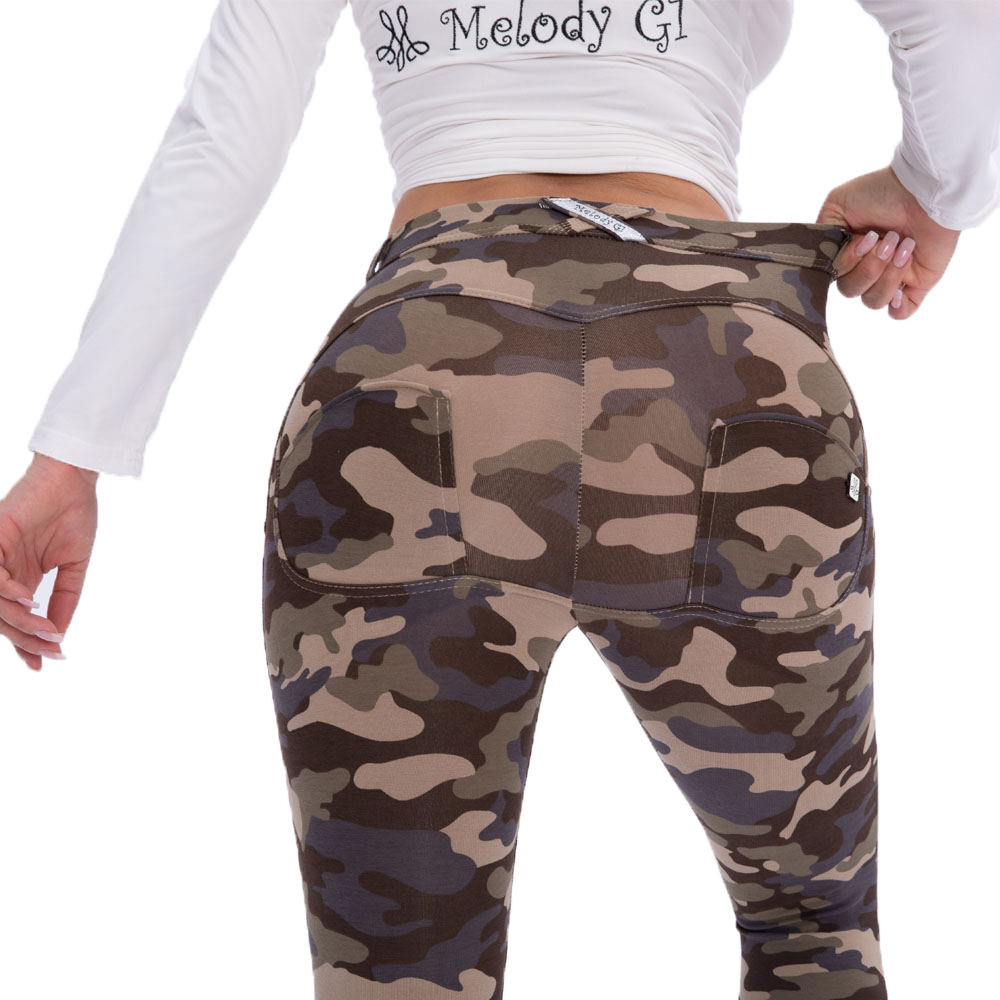 Melody Four Ways Stretchable Mid Rise Camo Leggings Super Skinny Sexy Butt Lifting Camouflage Jeggings For Women