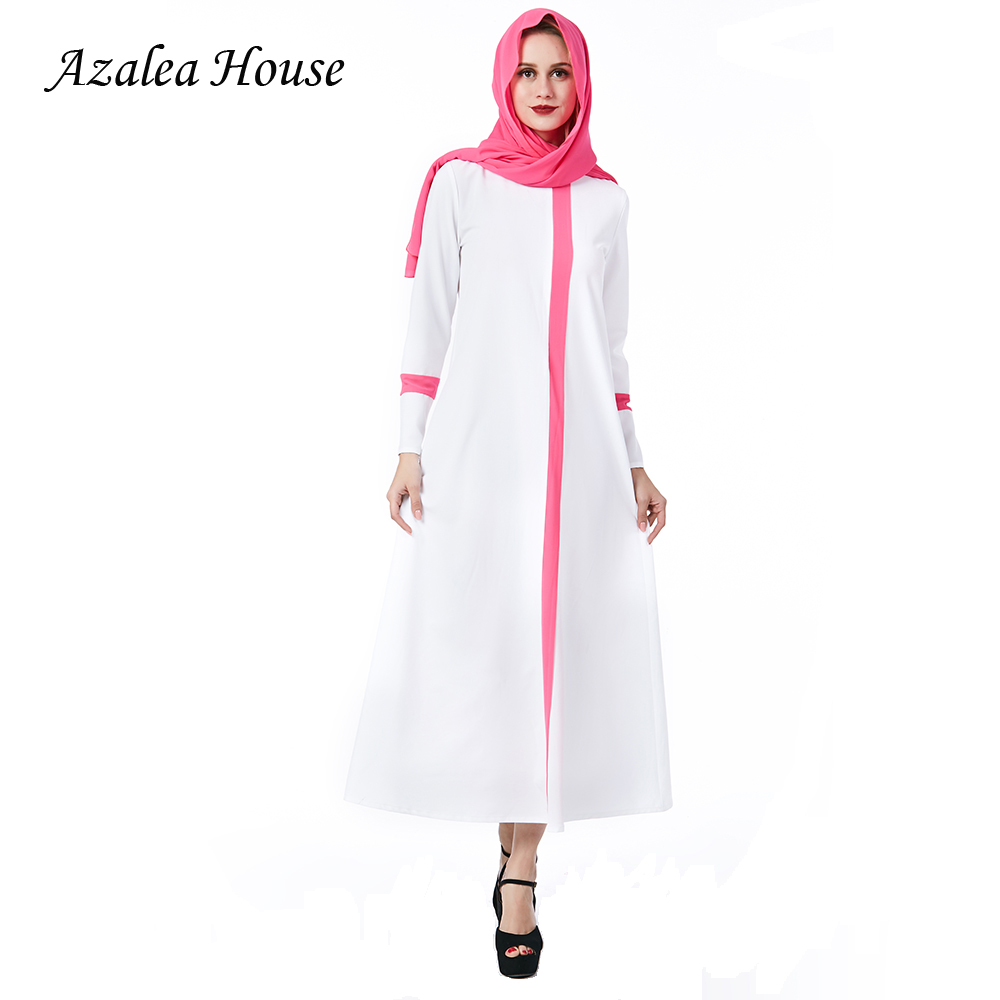 0b68d8b3930ad Detail Feedback Questions about 2018 Azalea House Muslim White Women Dress  Solid Plus Size Pink Scarf ZIipper Robe abaya islam Dresses Long sleeve  Brand ...