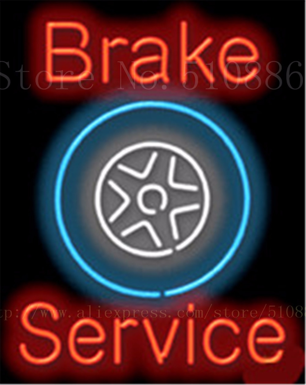 """Brake Service Auto Car Repair Tube Car neon sign <font><b>Glass</b></font> Beer Handcrafted decorative signs Store Custom Light Signboard 19\""""x15\"""""""
