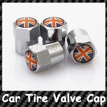 4 pcs The Union Jack Car Wheel Tire Valve Caps Covers For Audi Opel Volvo Mazda Citroen Volkswagen Peugeot Toyota Ford Chevrolet