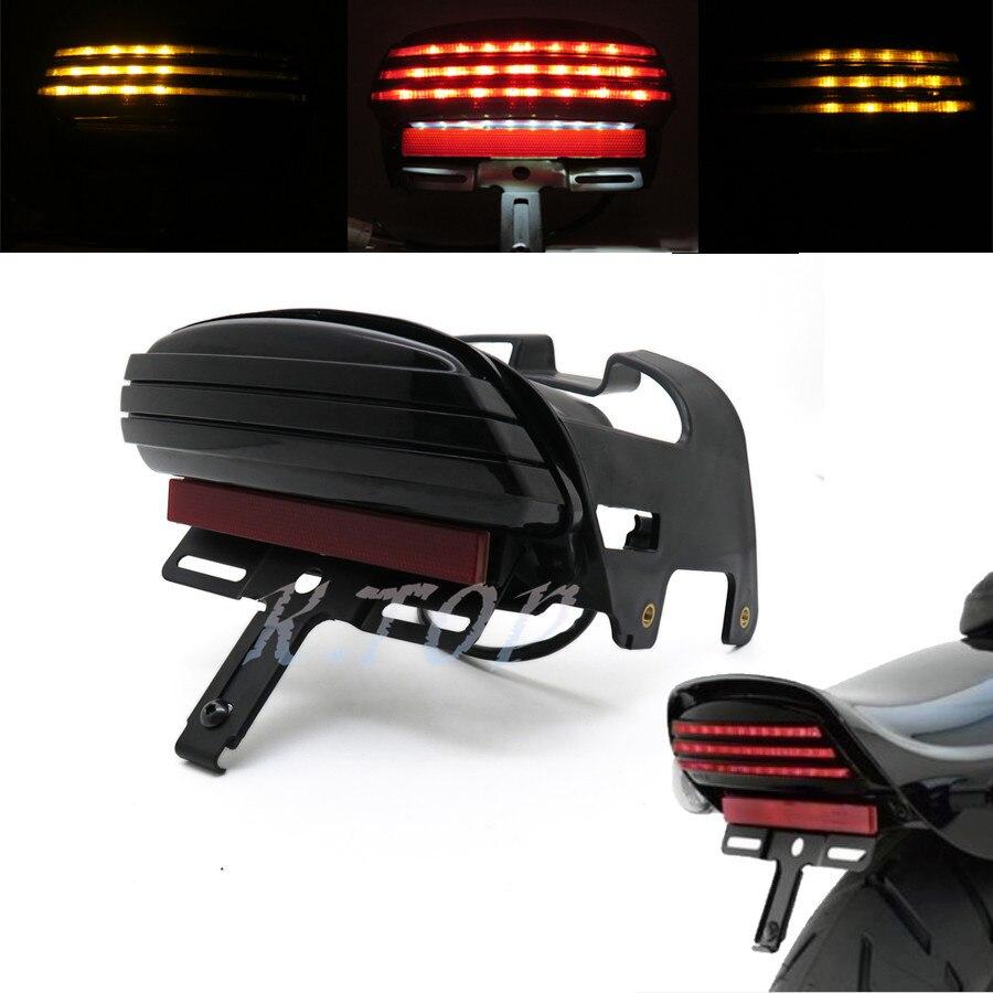 Tri-Bar Fender LED License Plate Bracket Tail Light For Harley Dyna Fat Bob US
