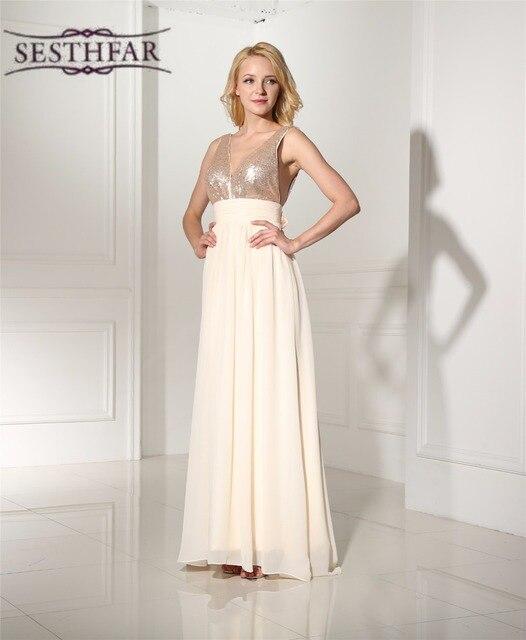 Echt Bild Günstige Brautjungfernkleider Lange Chiffon V ausschnitt ...