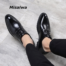 Misalwa Wine Red Men Brogue Dress Shoes Fashion British Business Office Men Leather Shoes Men Oxfords Free Shipping