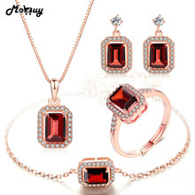 hot deal buy mobuy natural gemstone 4pcs jewelry sets 100% 925 sterling silver for women wedding gift fine garnet jewelry v011ehnr