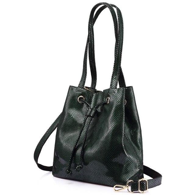 Женская большая сумка ведро из натуральной кожи REALER