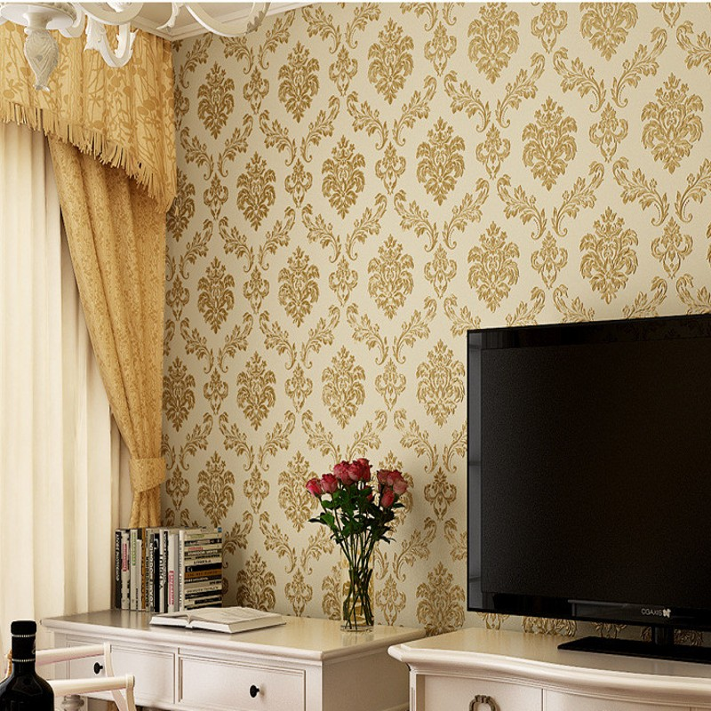 Free Shipping Non woven fabric European style 3D pressure wallpaper Damascus living room bedroom TV background wallpaper beibehang european style damascus non woven 3d pressure three dimensional living room bedroom tv background wallpaper
