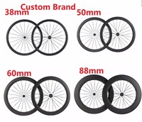 Chinese Factory Light Carbon Wheel Cheap Carbon Fiber Custom Sticker Road Bike Wheel 38mm 45mm 50mm 60mm 88mm Road Bicycle Wheel