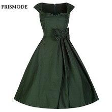 Frismode vermelho roxo verde preto audrey hepburn estilo vestidos de verão sem mangas dress mulheres 1950 s 60 s retro rockabilly vestidos
