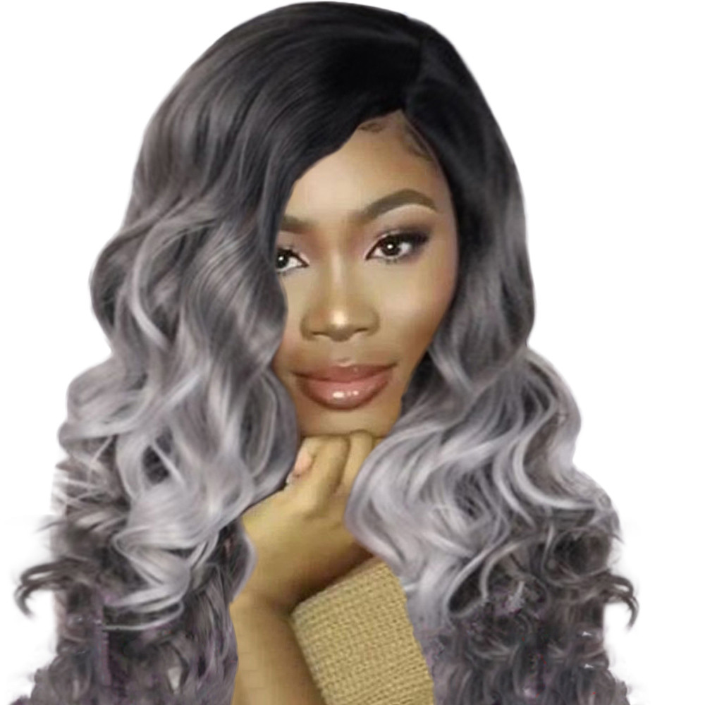 New Fashion Popular Sexy Women Girl Gradient Gray Party Wigs Long Curly Hair Mixed Colors Synthetic Wig Gift Dropshipping