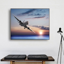 Laeacco Canvas Calligraphy Painting Jet Aircraft over the Sea Posters and Prints Sunshine Wall Art Picture for Living Room Decor laeacco sea marine fish sunshine posters and prints canvas painting wall art picture home decor living room decoration