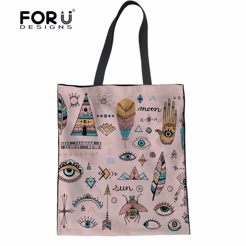 FORUDESIGNS Pink Female Environmental Protection Shopping Bags Boho Vibes Women Linen Tote Bags Handbags School Girls Cloth Bags