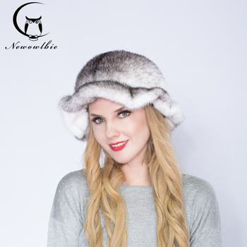 NEWOWLBIE  Real Fur Mink topper Flounced Fashion  Natural Mink  Hat Winter Warm Protect Skin Match Coat  Multifunction Hats