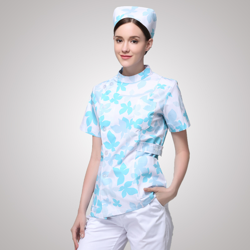 3651a132d3a 2017 New Design Flower Print Nurse Scrub Sets Women Summer Short
