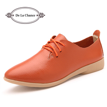 2017 Cow Muscle Ballet Autumn Casual Shoes Women Genuine Leather Shoes Woman Flat Flexible Nurse Peas Loafer Flats