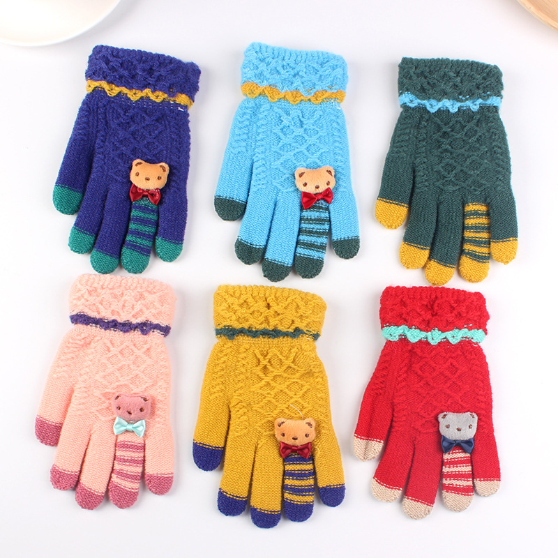 AHB Winter Kids Gloves Warm Knitted Gloves Full Finger Thick Mittens With Bear Bow Cartoon 5-10-Year-Old Children Gloves