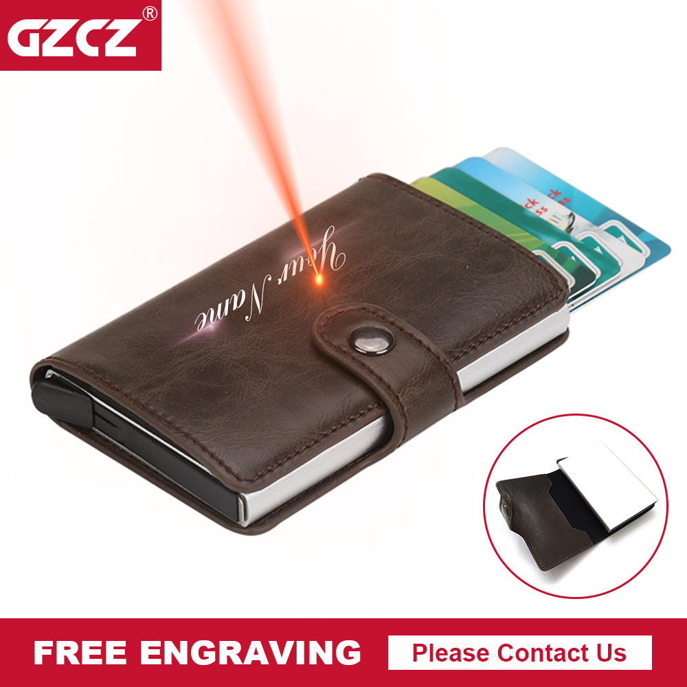 GZCZ Free Engraving Credit Card Holders Business Men Card & ID ...