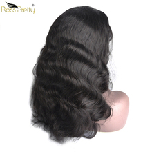 Ross Pretty Remy Brazilian Human Hair Wigs Body Wave Baby and Pre Plucked Natural Color black lace front hair wig