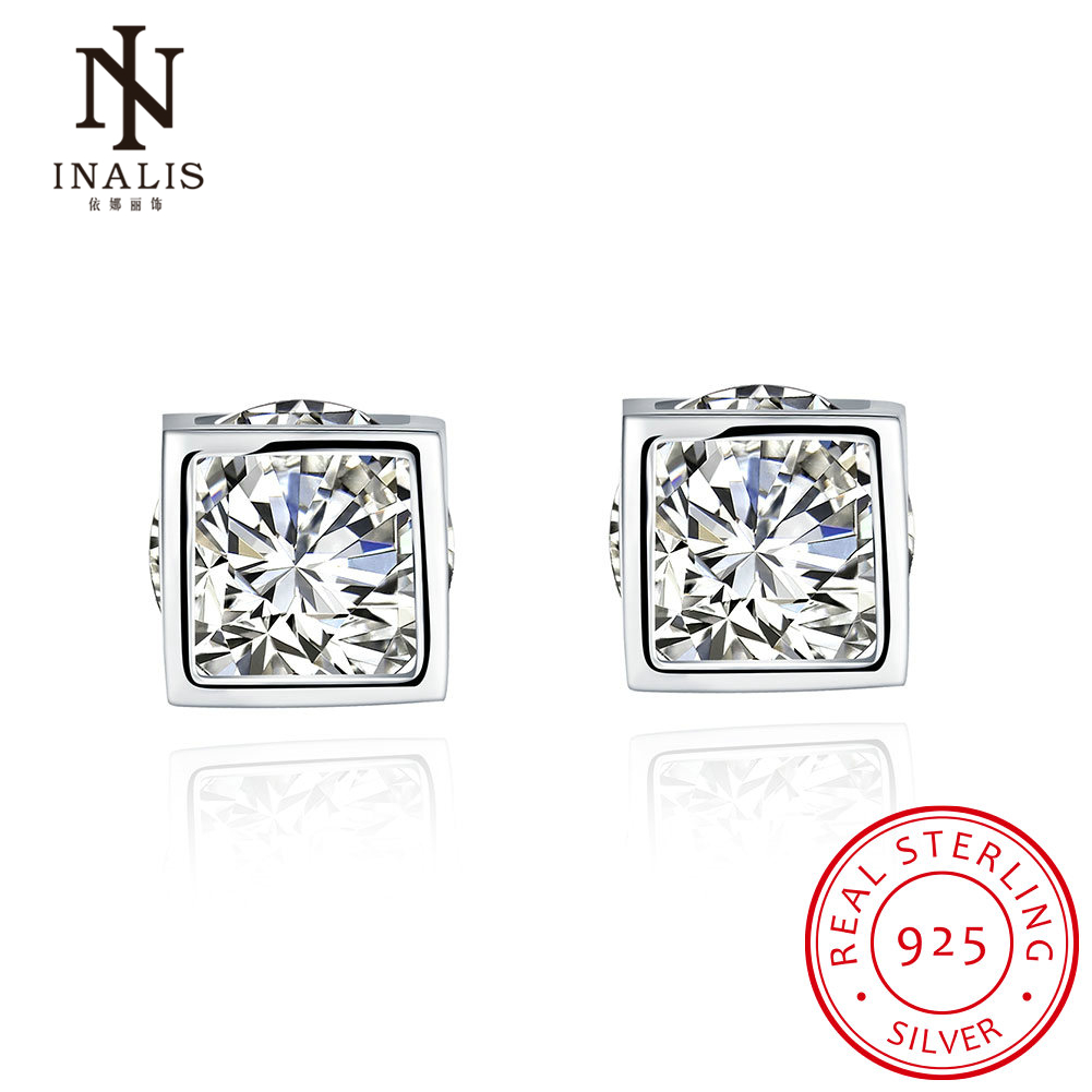 Inalis 925 Sterling Silver Cubic Zirconia Square Earrings Cz Earrings  Jewelry Stud Earrings For Men And