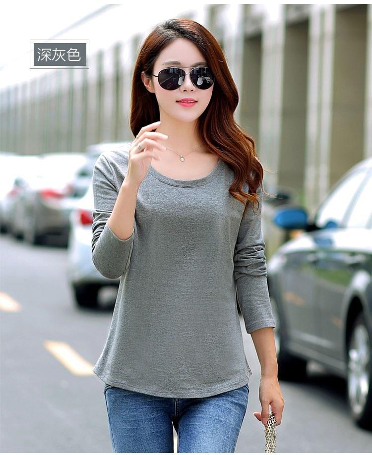 Merek womens lengan panjang puncak camisetas t shirt Kemeja