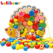 82Pcs/set Montessori 3D Wooden Blocks Cartoon Hedgehog Fruit Vegetable Colored Beads String Oyuncak Kids Learning Toys DIY Gift