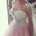 Custom made rosa longo vestido Quinceanera 2016 querida lace apliques vestido de baile de tule vestido de debutante vestido 15 anos