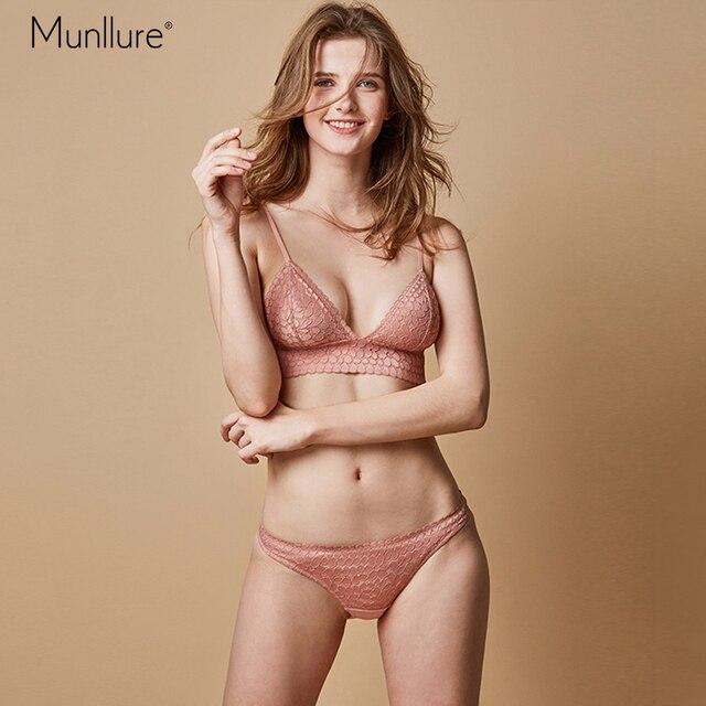 fda705fb2e Munllure Pink bra girl heart underwear panties suit female thin section  triangle cup unserwear women cup flower lace bra set