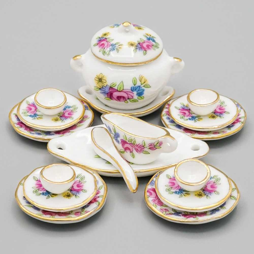 Odoria 1:12 Miniature 17PCS Porcelain Tableware Pink Rose Dollhouse Kitchen Accessories