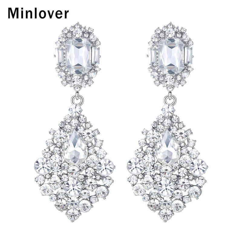 Minlover Crystal Silver Color Svatební šperky Svatební dlouhé náušnice pro ženy Módní Visící náušnice Svatební šperky 2018 MEH196