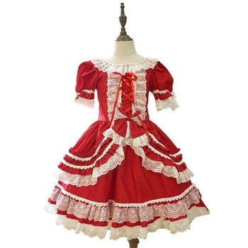 Customized Spainish Dress Girls Royal Costumes Kids Princess Wedding Birthday Party Dresses Lace Bowknot Layered Ball Gown 2-15Y