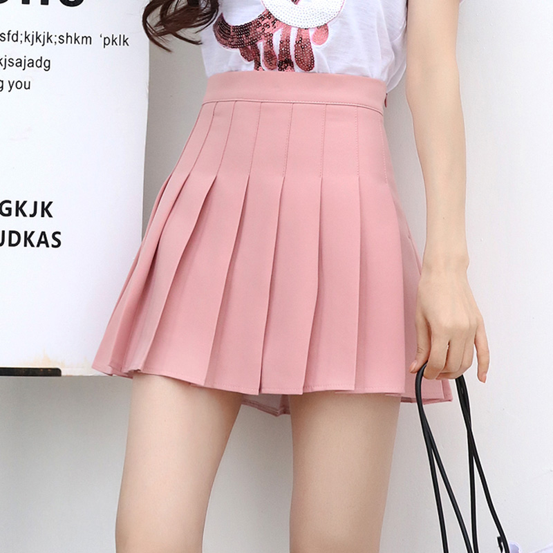 5 Solid Color Mini Pleated Skirt Summer S-XL Harajuku Kawaii A Line Skirt Black Hipster Zipper Lining Women Saia Feminina 2019