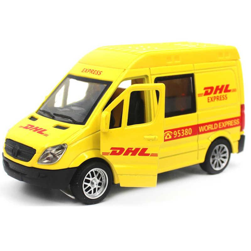 Paduan Logam Persewaan Mobil Model Mainan Menarik Kembali 1:30 Diecast Benz DHL/SF/EMS Truck Mainan Simulasi Tinggi untuk Anak-anak Hobi Koleksi