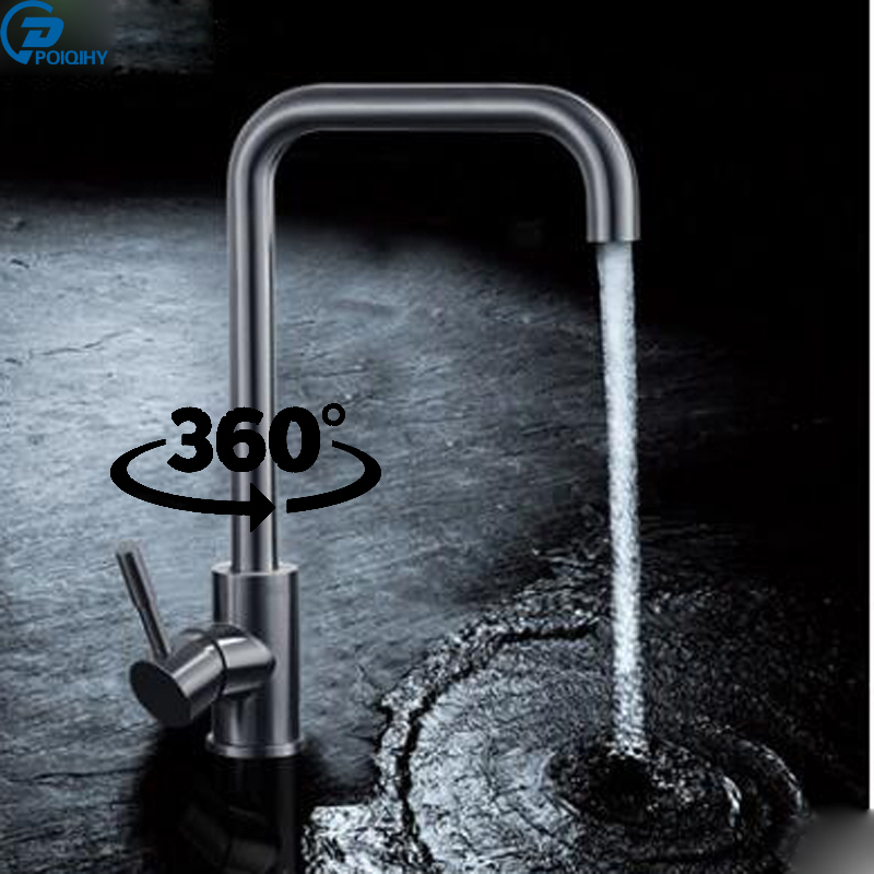 POIQIHY 360 degree rotation kitchen faucet single handle single hole wall mounted type brushed nickle